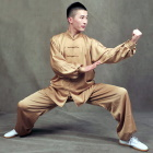 Professional Taichi Kungfu Uniform with Pants - Silk Fibroin Satin - Champagne (RM)