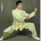 專業太極武術練功服連褲 - 絲素緞 - 淺黃色