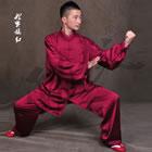 專業太極武術練功服連褲 - 絲素緞 - 紫紅色
