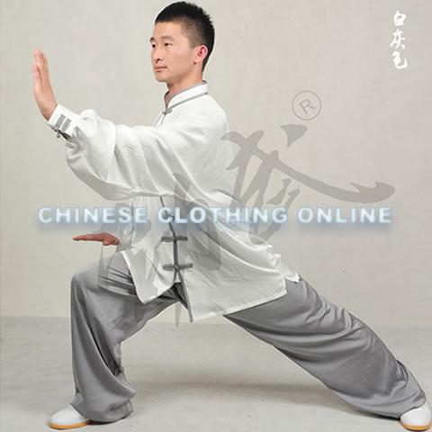 Professional Taichi Kungfu Uniform with Pants - Silk Fibroin Satin - White/Grey (RM)