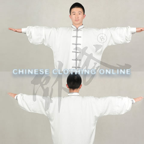 Professional Taichi Kungfu Uniform with Pants - Silk Fibroin Satin - White/Grey (RM)
