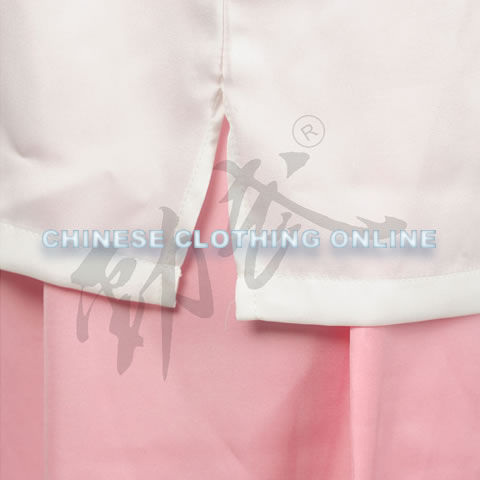 Professional Taichi Kungfu Uniform with Pants - Silk Fibroin Satin - White/Pink (RM)