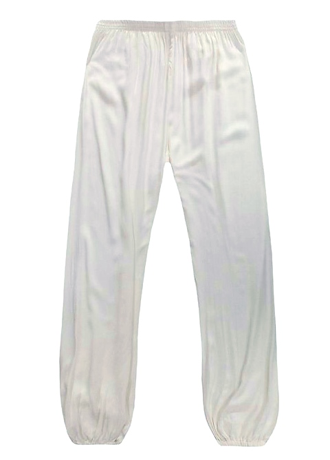 Professional Taichi Kungfu Pants - Korean Silk - White (RM)