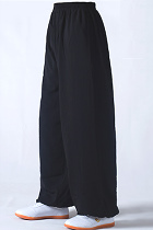 Professional Taichi Kungfu Pants - Cotton/Silk - Black (RM)