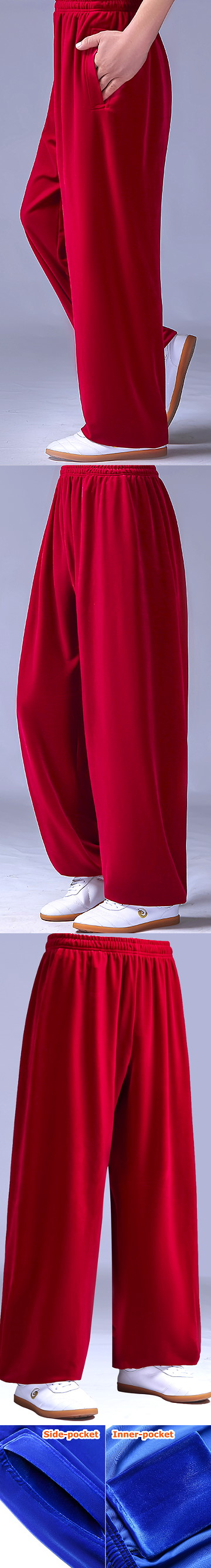 Professional Taichi Kungfu Pants - Velvet - Red (RM)