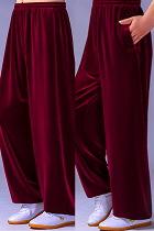 Professional Taichi Kungfu Pants - Velvet - Maroon (RM)