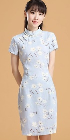 Mid-length Linen Printing Cheongsam Dress (RM)