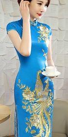 碗袖華麗鳳凰刺繡旗袍 (成衣)
