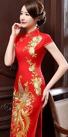 Cup-sleeve Gorgeous Phoenix Embroidery Cheongsam (RM)