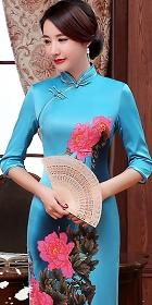 六分袖絲綢印花旗袍 (成衣)
