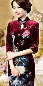 六分袖刺繡絲絨旗袍 (成衣)