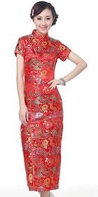 短袖長身織錦緞旗袍 (成衣)