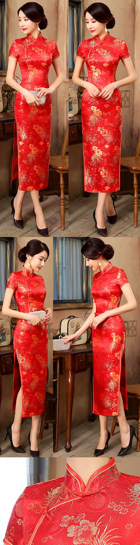 Short-sleeve Long-length Brocade Cheongsam (RM)