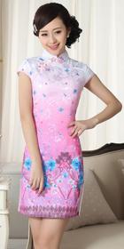 特價品-碗袖短身花卉印花旗袍 (成衣)