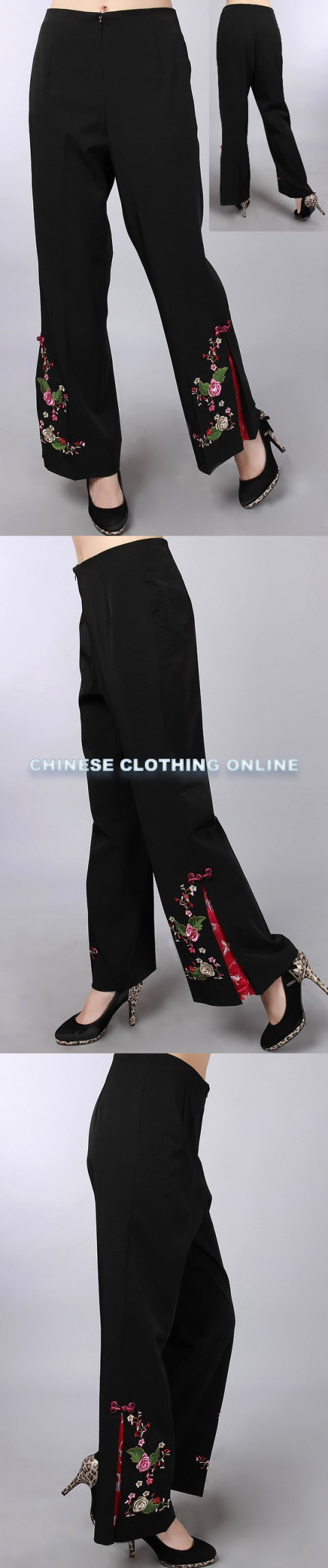 Mandarin Pants w/ Floral Embroidery (RM)