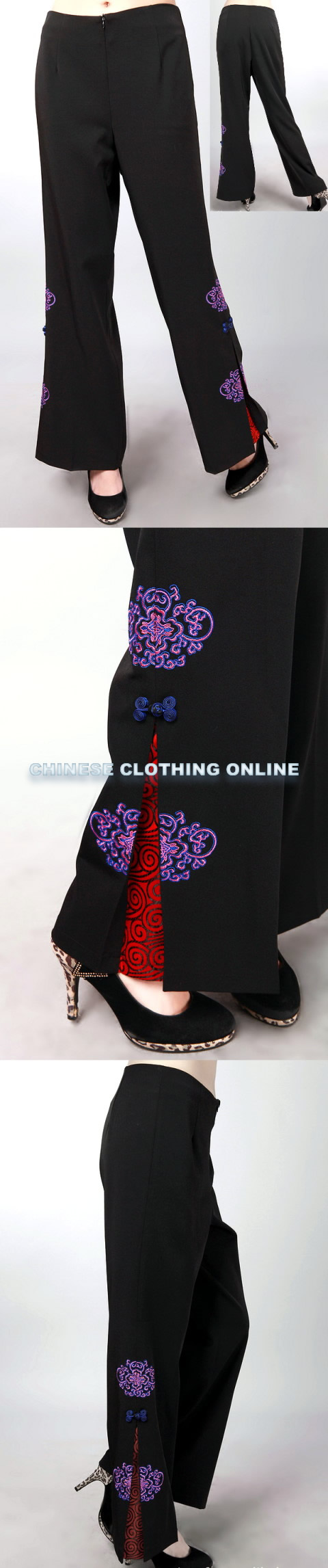 Mandarin Pants w/ Flower and Auspicious Cloud Embroidery (RM)