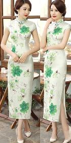 Cup-sleeve Silk Printing Cheongsam (RM)