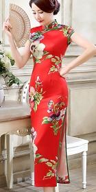 碗袖絲綢印花旗袍 (成衣)