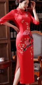Elbow-sleeve Silk Printing Cheongsam (RM)