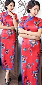 短袖絲綢印花旗袍 (成衣)