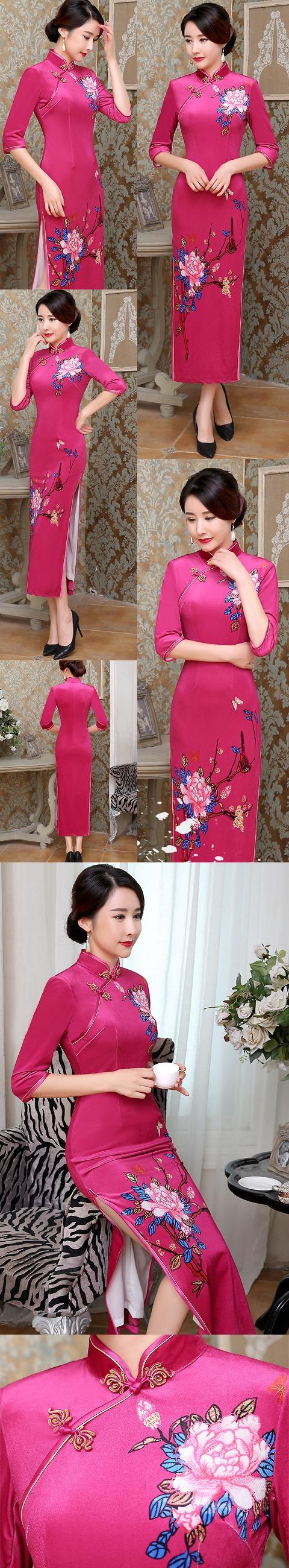 Bargain - Elbow-sleeve Velvet Printing Cheongsam (RM)