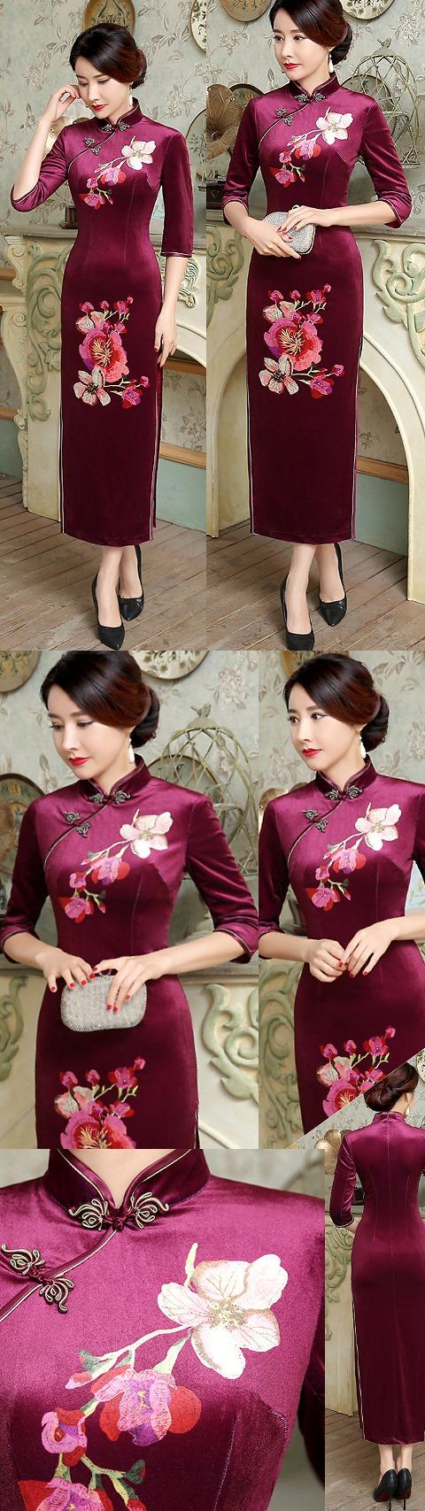 3/4-sleeve Velvet Cheongsam (RM)