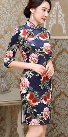 Bargain - 3/4-sleeve Short-length Silk Printing Cheongsam (RM)