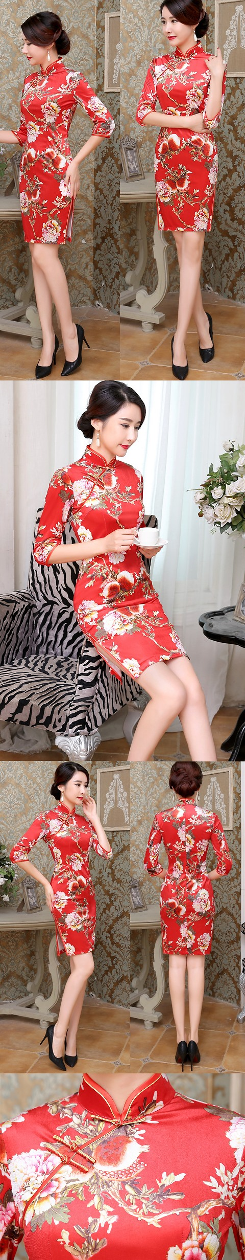 3/4-sleeve Short-length Silk Printing Cheongsam (RM)