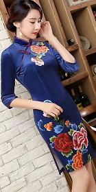 7分袖短身天鵝絨印花旗袍 (成衣)