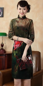 六分袖短身金絲絨噴繪旗袍 (成衣)