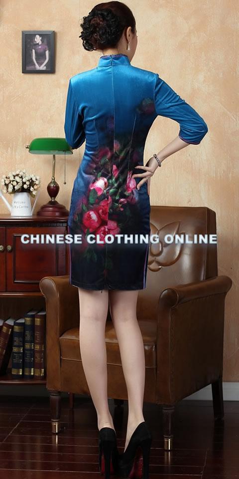 Elbow-sleeve Short-length Spray Painting Velvet Cheongsam (RM)