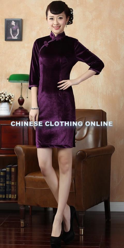 Elbow-sleeve Short-length Velvet Cheongsam (RM)