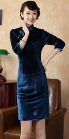 六分袖短身金絲絨旗袍 (成衣)