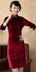 Elbow-sleeve Short-length Velvet Cheongsam (RM)