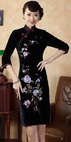 六分袖短身金絲絨繡花旗袍 (成衣)