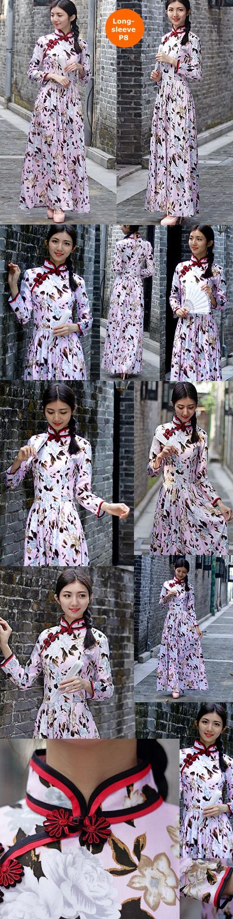 Long-length Cotton Printing Cheongsam Dress