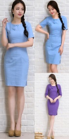 Mid-length Cotton Linen Cheongsam Dress