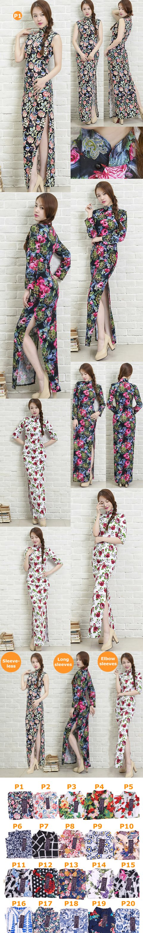 Long-length Cotton Printing Cheongsam Dress