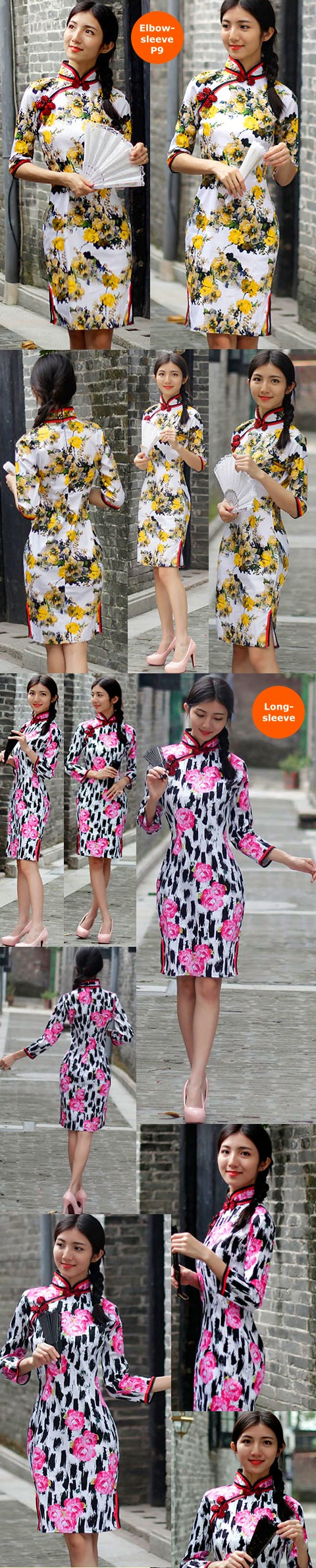 Mid-length Cotton Printing Cheongsam Dress