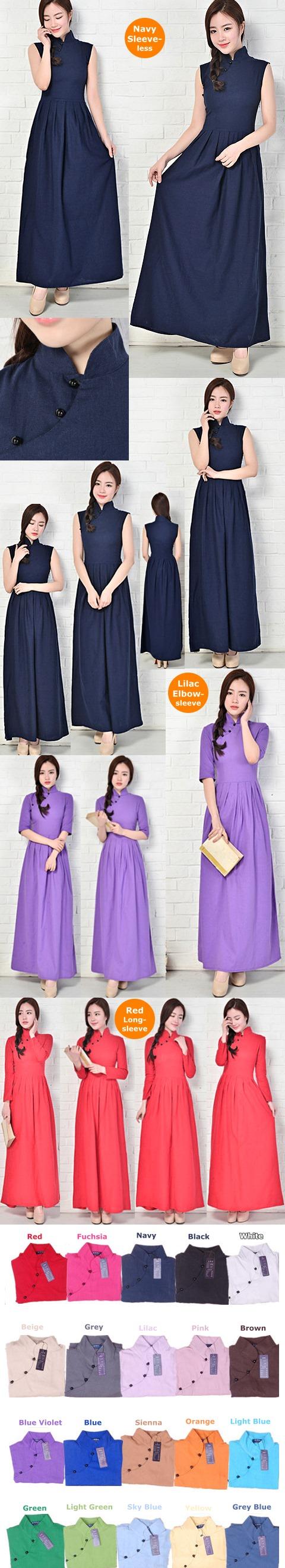 Long-length Cotton Linen Cheongsam Dress