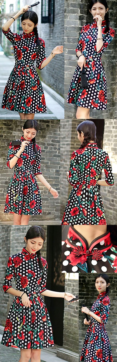 Mid-length Cotton Printing Cheongsam Dress