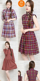 Mid-length Cotton Yarn-dyed Checks Cheongsam Dress