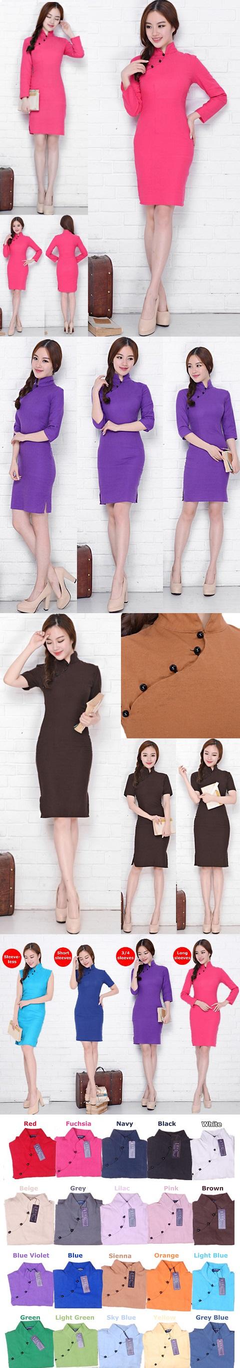 Mid-length Cotton Linen Cheongsam Dress