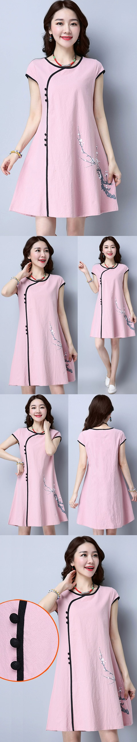 Ethnic Cup-sleeve Hand-painting Dress-Pink (RM)