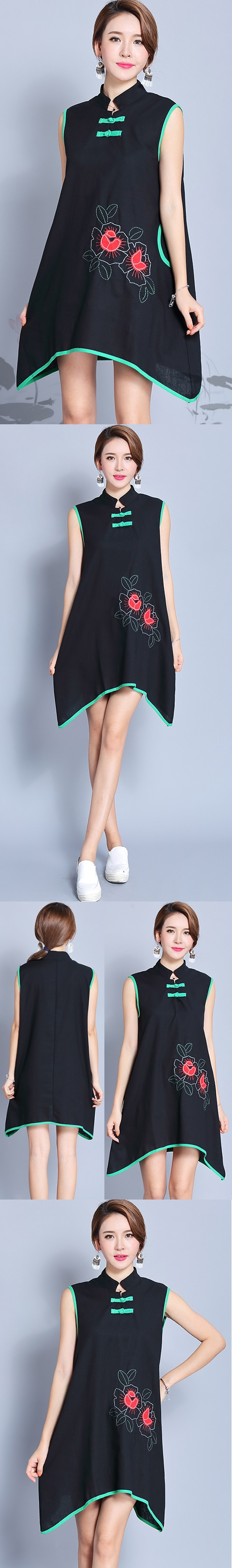 Ethnic Sleeveless Arch-bottom-hem Dress (RM)