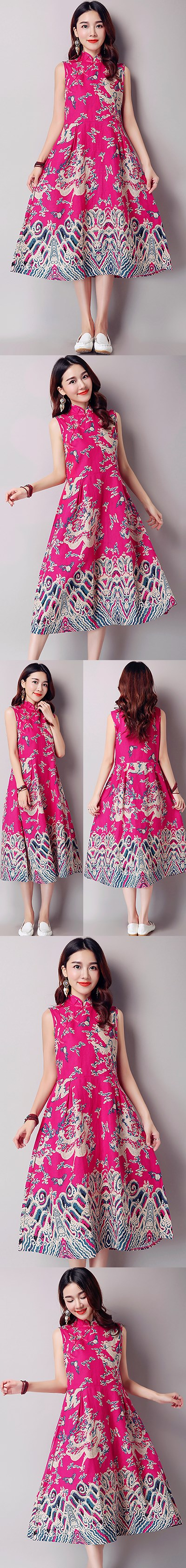 Ethnic Long-length Dragon-printing Dress-Fuchsia (RM)