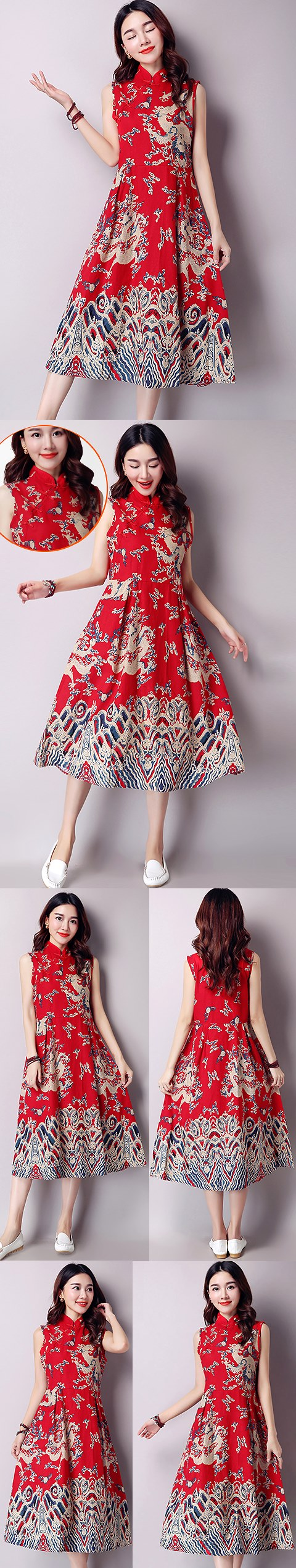 Ethnic Long-length Dragon-printing Dress-Red (RM)