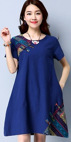 Ethnic Short-length Dress with patches-Black (RM)