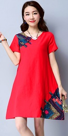 Ethnic Short-length Dress with patches-Red (RM)