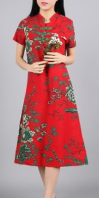 Ethnic Mid-length Floral-printing Dress-Crimson (RM)